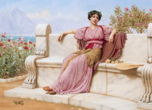 "The title of this artwork is ""Tranquility"" by John William Godward"